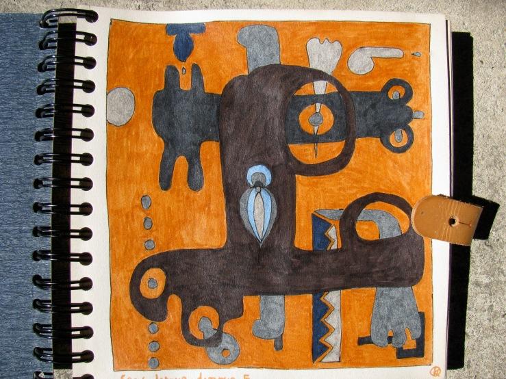 dessin aux feutres sur papier à grain vernis;N°5/78 de la série 1.